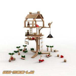 children wooden treehouse 3d max