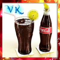 Photorealistic Coke Coca Cola Bottle and Glass