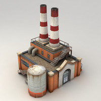 Lowpoly factory powerplant