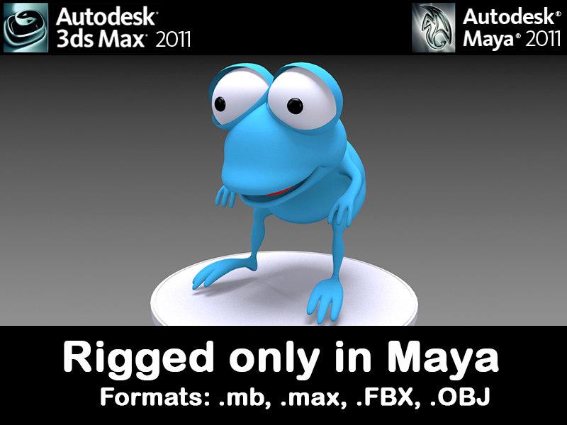 3d frog character model