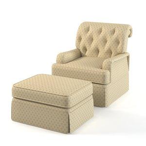 3d model henredon tufted chair