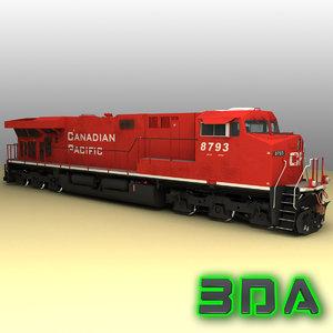 ge es44ac locomotive engines 3d model
