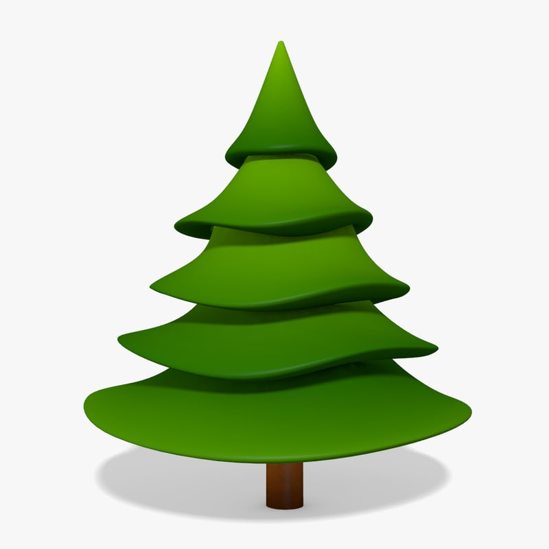 Cartoon Pine Tree Obj