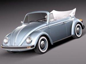 3d model volkswagen beetle antique convertible