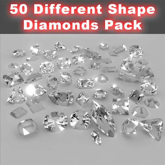 50 different shape diamonds 3d model