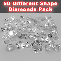 50 different shape diamonds 3d model
