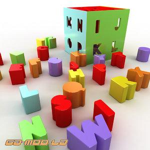3d alpha square toy