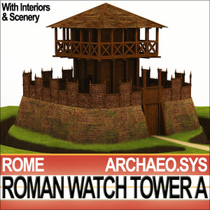 ancient rome watch tower 3d model