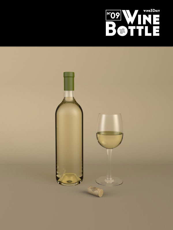 3ds max bottle 09 wine
