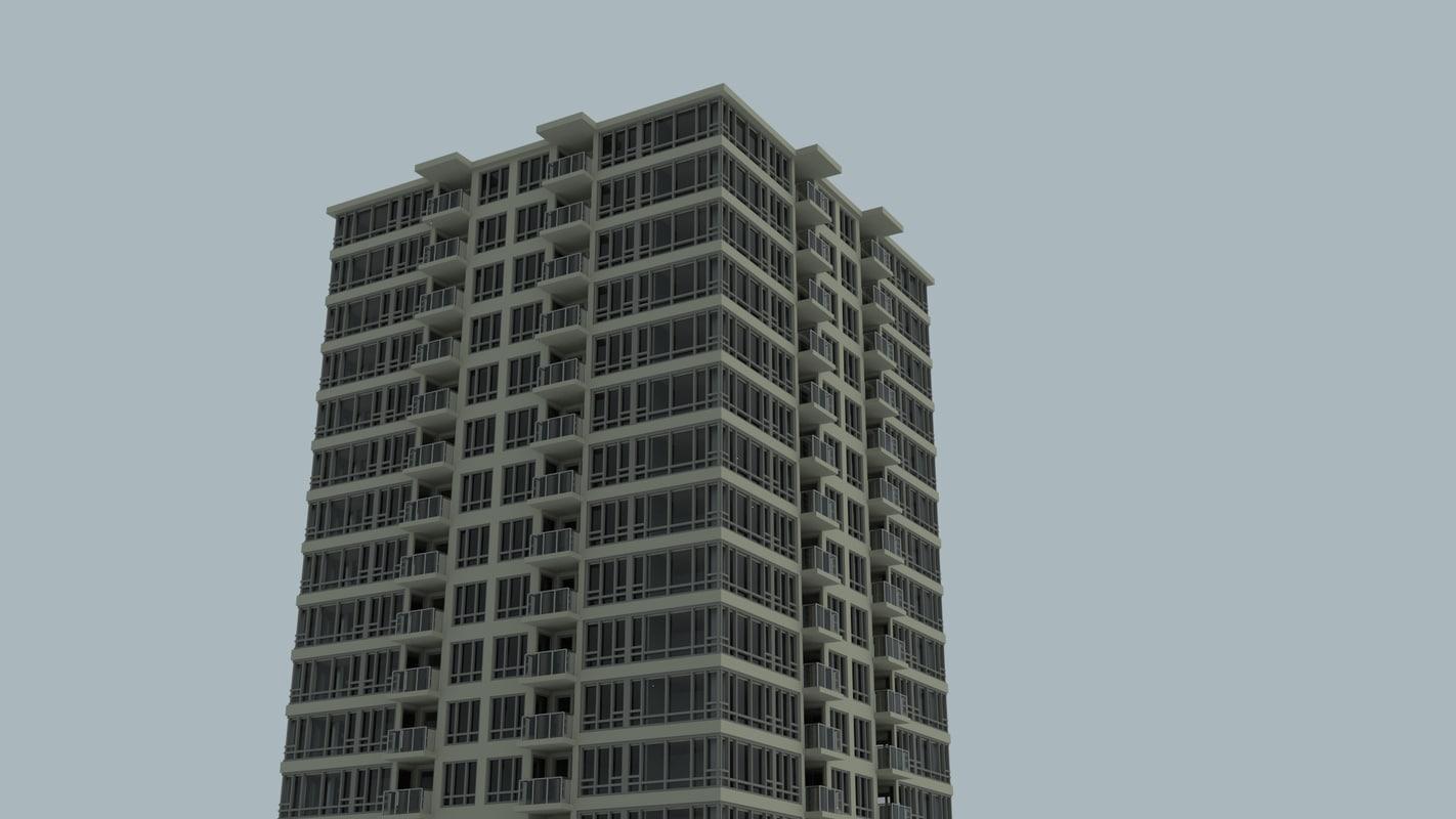25 rise apartment building 3d model