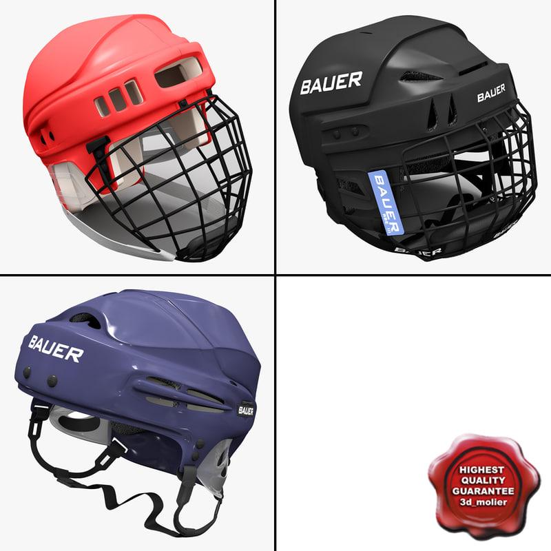 hockey helmets 2 3d model