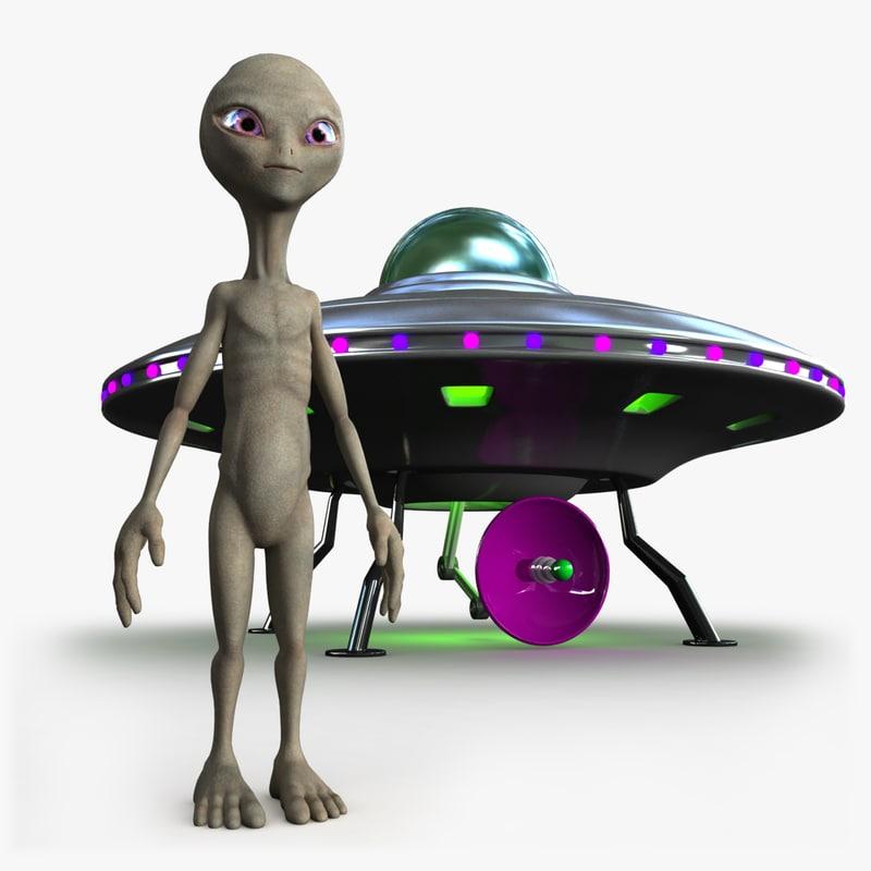 grey alien ufo 3d max