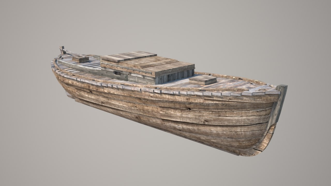wooden boat 3d model