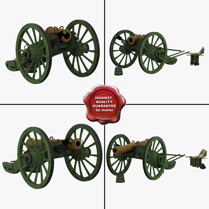 old cannons 2 3d model