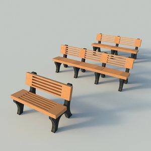 plastic slatted bench 3d model