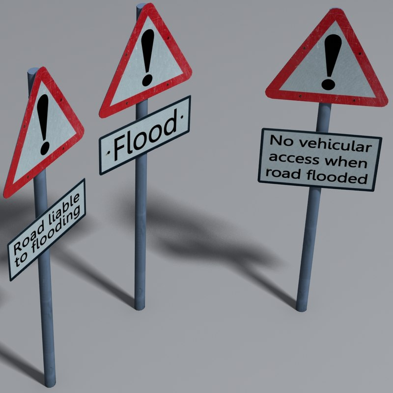 3d flood road signs