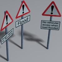 3d flood road signs