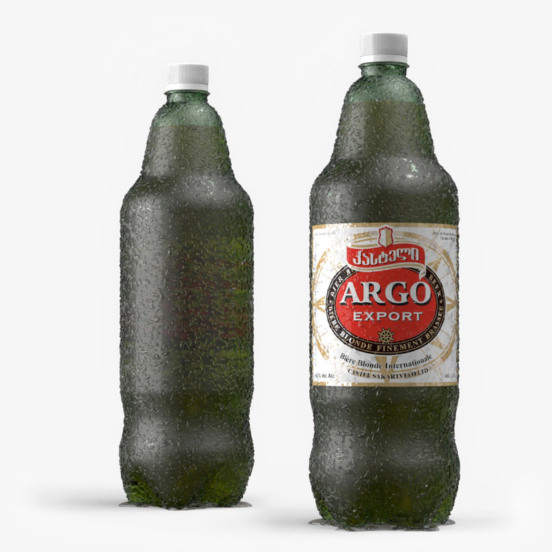 3d model plastic green bottle -