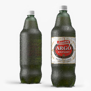 3d model plastic green bottle -