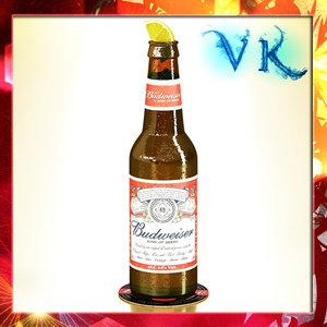 budweiser beer bottle 3d 3ds