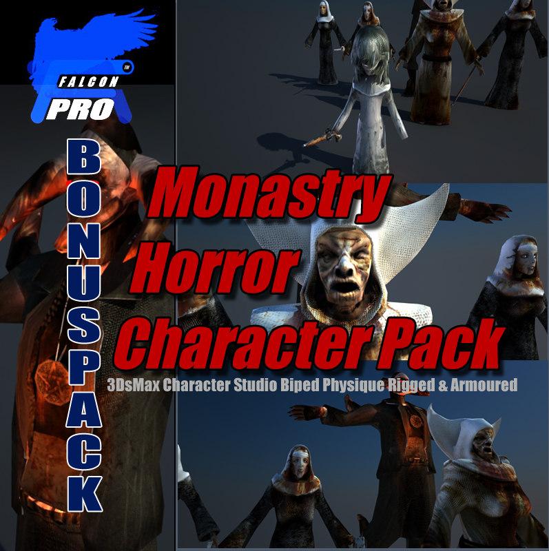 3d model monastery horror character pack