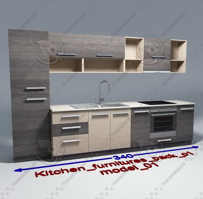 3d max kitchen furnitures 01