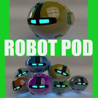 yellow robotic pod 3d 3ds
