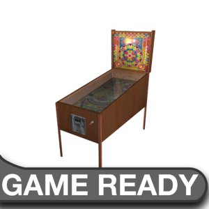 wooden pinball machine obj