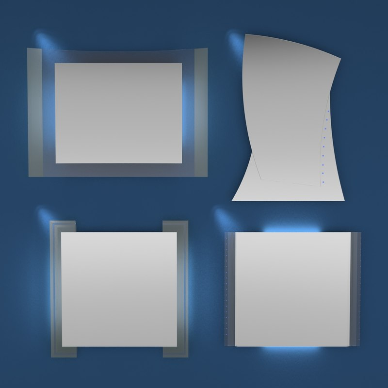 3d model simple design modern mirrors
