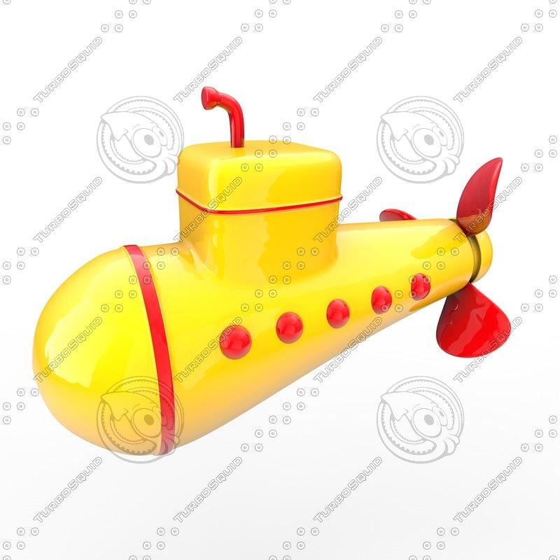 submarine yellow 3d model