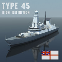 Type 45 Destroyer, High quality 3D model