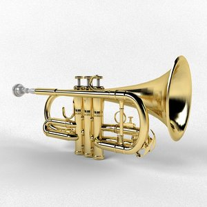 3d model music trumpet