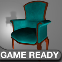 3d victorian chair aqua