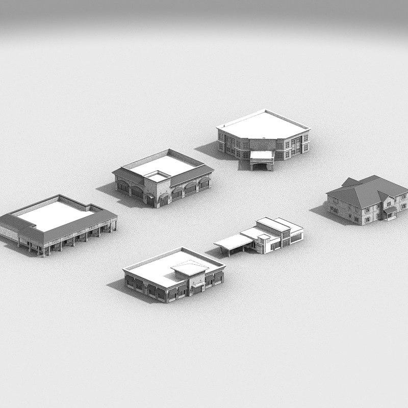retail city buildings 3d max