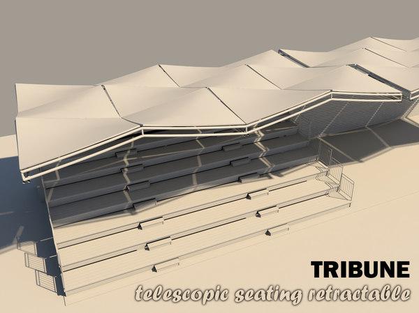 3d model tribune seating retractable