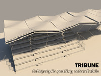 3d model tribune seating retractable