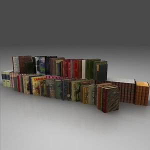 sets old books 3d obj
