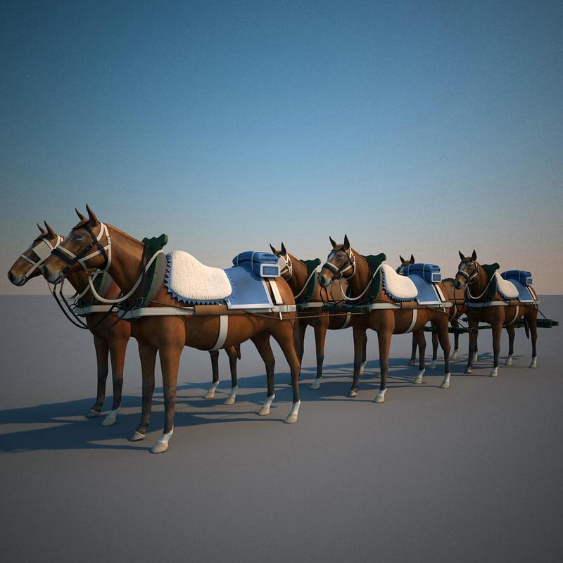 lightwave harnessed horses 2