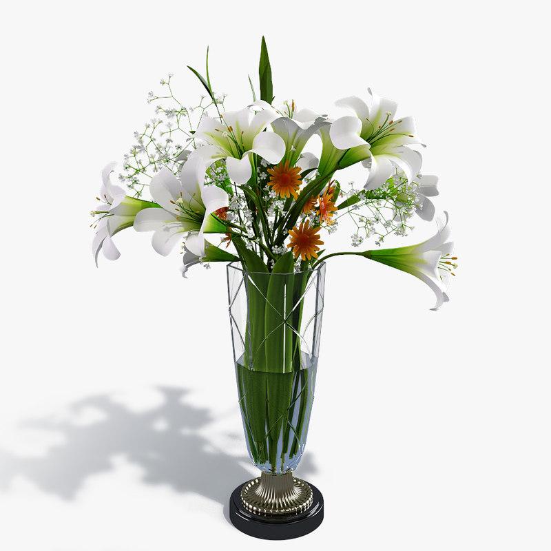 bouquet lilies flowers 3d obj