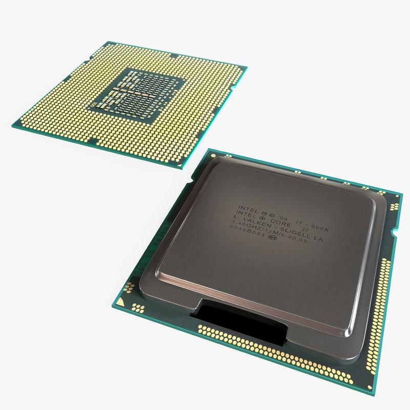 intel lga1366 i7 component 3d model