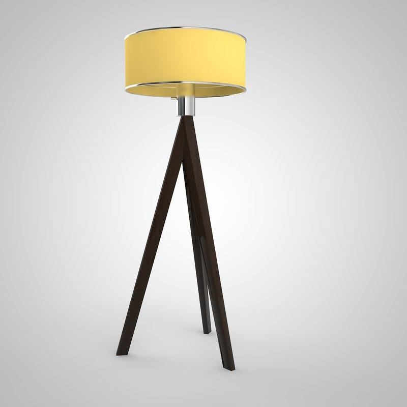 tripod floor lamp 3d obj