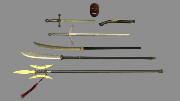 weapon set halberd pistol 3d model