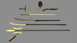 weapon set halberd pistol 3d model
