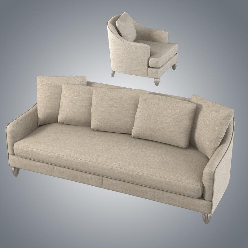 Baker Barbara Barry 6701s Soiree Sofa Chair Set