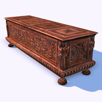 3d ornamental wooden cabinet model