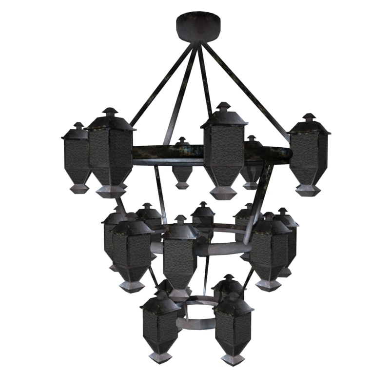 chandelier video games 3d obj