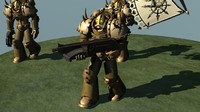 Chaos marine squad rigged and animated