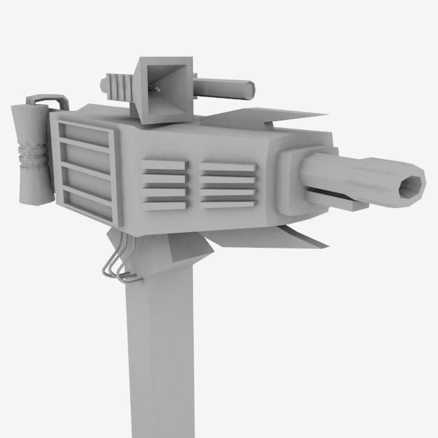 3d sci-fi gun cannon