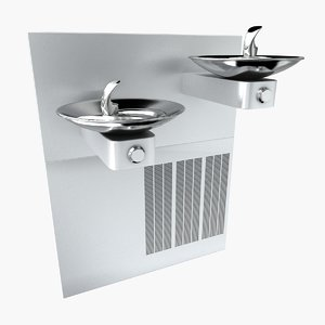 commercial hi-lo drinking fountain 3d max