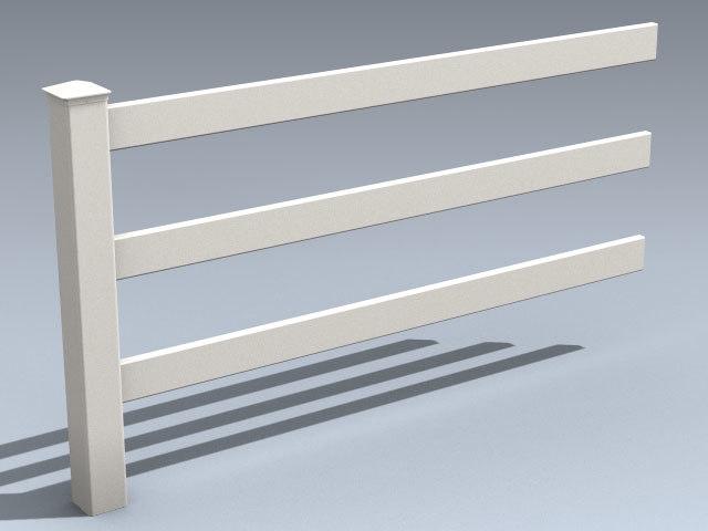 3d vinyl tri-rail farm fence model